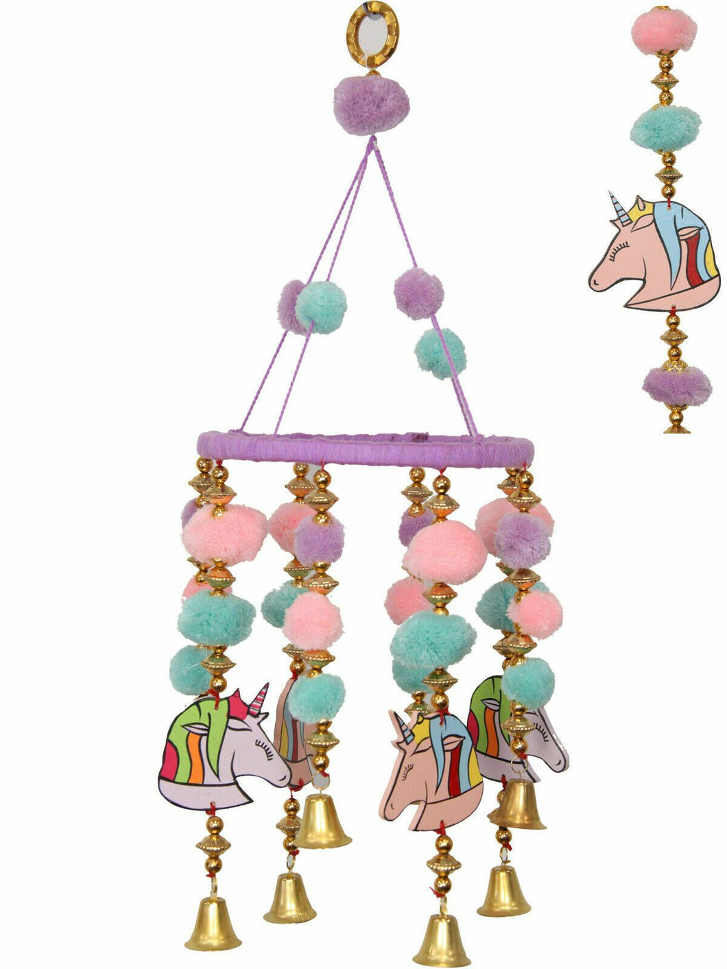 50cm Unicorn Pom Pom Mobile Wind Chime Brand New - Jungle Park Toys
