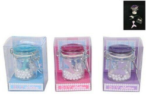 DIY mermaid tail necklace kit in a jar set of 3 sky blue, pink & purple - Jungle Park Toys