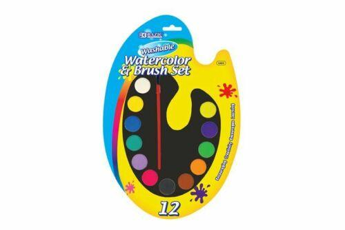 Bazic Watercolour With Brush 12 Colours (Includes Artist Brush) Age 3+ - Jungle Park Toys