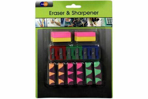 Eraser & Sharpener Set Pack of 14 - Jungle Park Toys