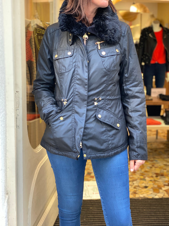 Barbour international parka noire enduit
