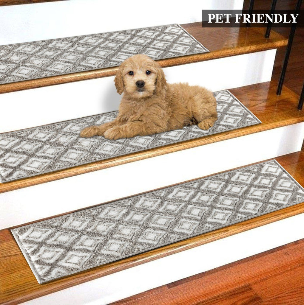 Marissa Gray Soft Stair Treads, Pack of 13 with Double Sided Tape