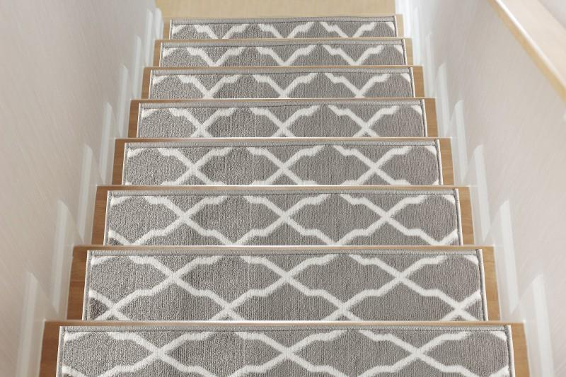 Trellis Gray Soft Stair Treads, Pack of 13 with Double Sided Tape