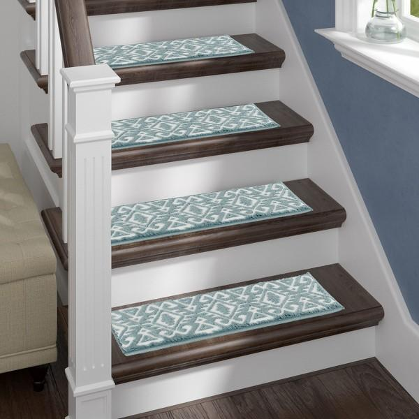 Aztec Teal Soft Stair Treads, Pack of 13 with Double Sided Tape
