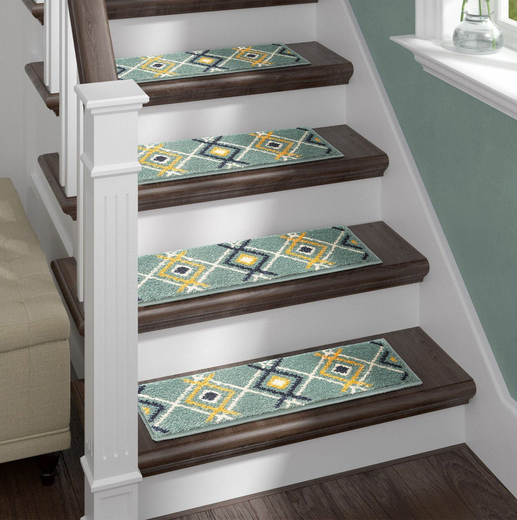 Shaggy Stair Rug - Green Aura, Pack of 13 with Double Sided Tape