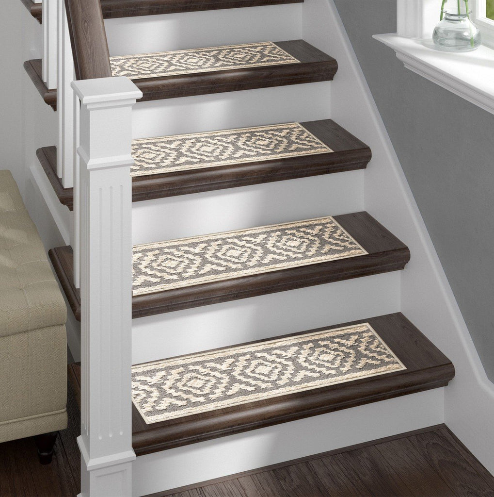 Shaggy Stair Treads - White Aura, Pack of 13 with Double Sided Tape