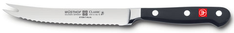 4109-7 wusthof classic serrated tomato knife. forked tip. riveted handle. 5 inches.