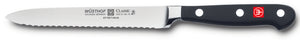 4110-7 wusthof classic serrated sausage knife. 5 inches. riveted handle.