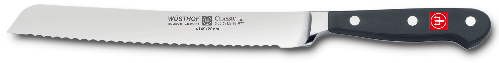 4149-7 wusthof classic bread knife. serrated. 8 inches. riveted handle.