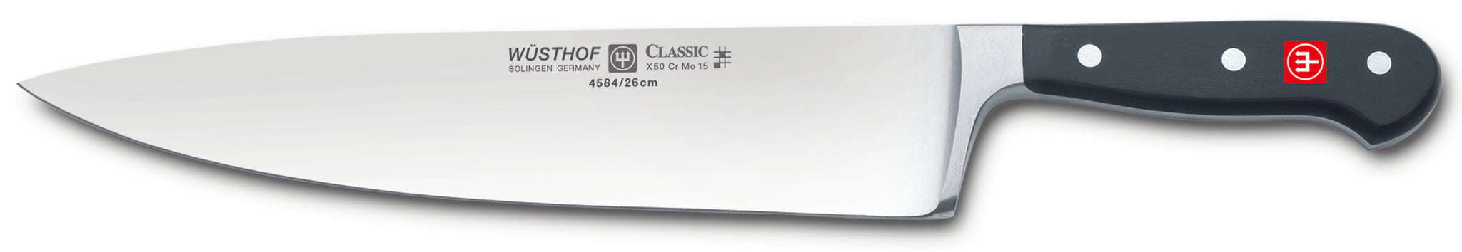 4584-7/26 wusthof classic wide chefs knife. 10 inches. riveted handle.