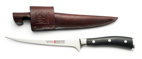 4626WS wusthof classic ikon 7 inch fillet knife with leather sheath