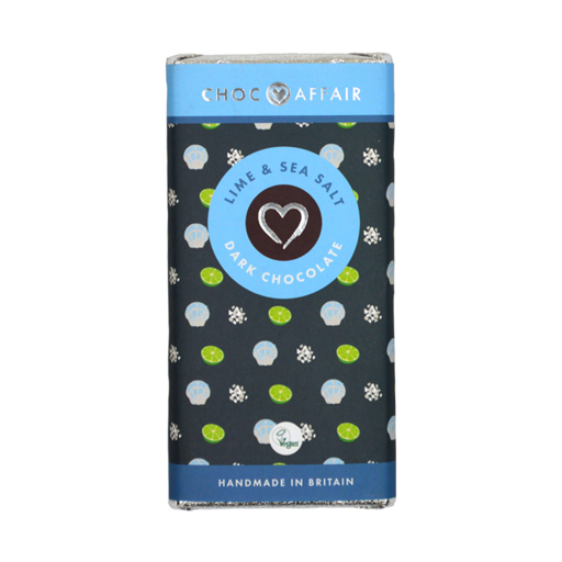 Choc Affair Lime & Sea Salt Dark Chocolate Bar (min. 90g)