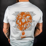 """Unlock Your Mind"" Logo Orange - Front & Back White Tee"