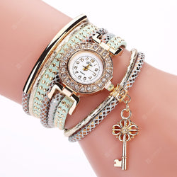 DUOYA D168 Women Leather Diamond Bracelet Watch With Key