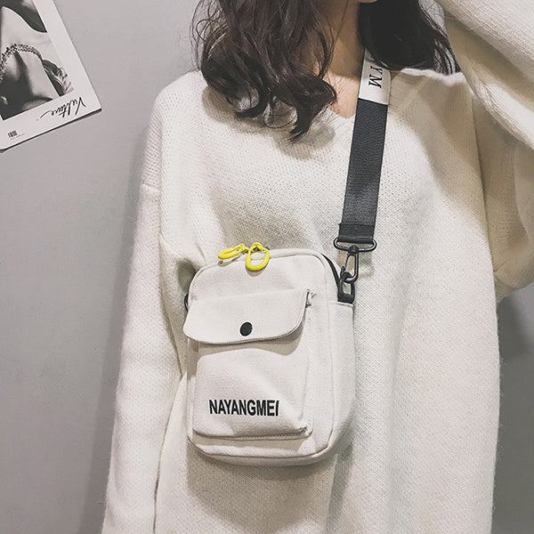 Canvas Plain Hip-hop Shoulder Bag for Women