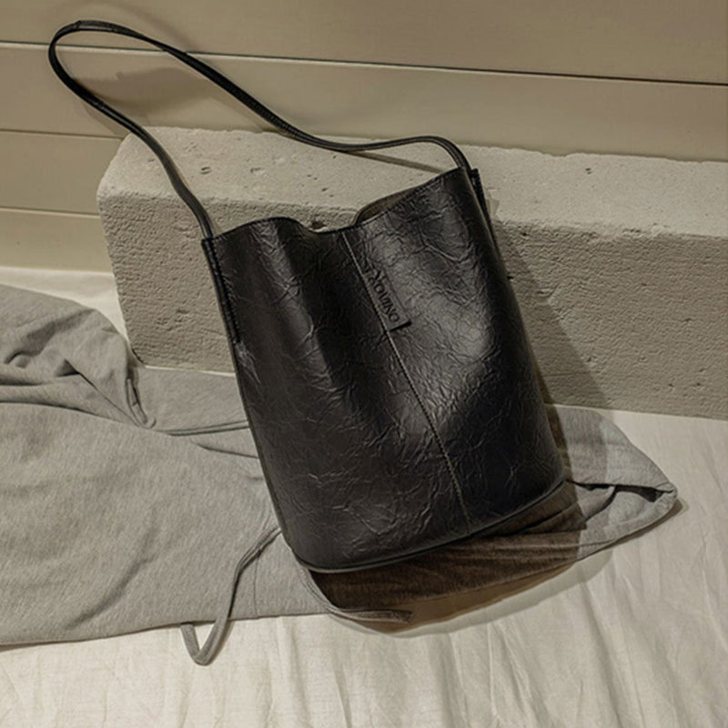 Women Solid Shoulder Bucket Bag