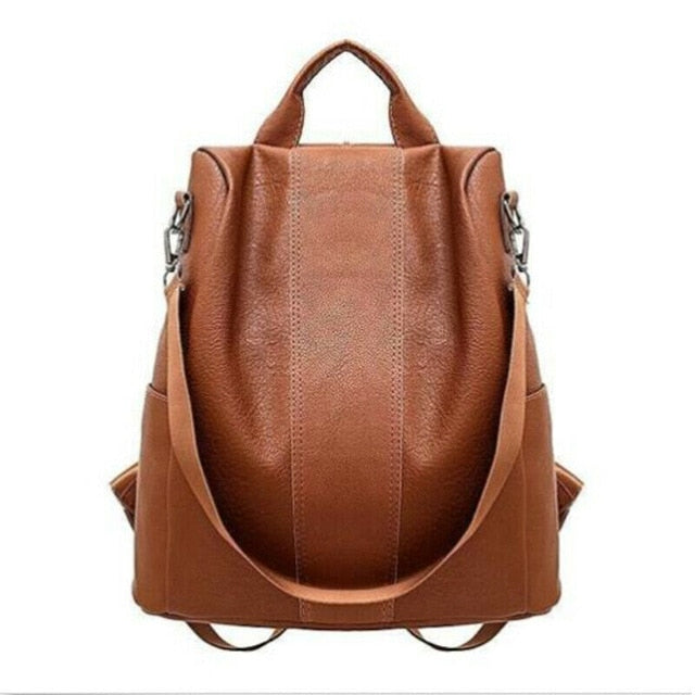 Female Anti-Theft Leather Backpack