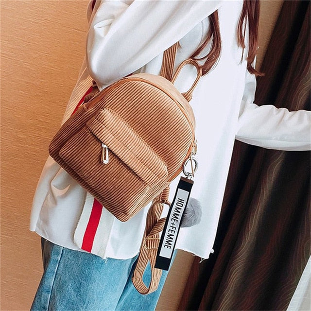 Miyahouse Mini Corduroy Travel Backpack
