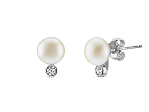 Mini Pearl & CZ Stud Earrings (7.5-8mm) - monach-butterfly