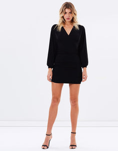 Long Sleeve Mini Dress - Black - monach-butterfly