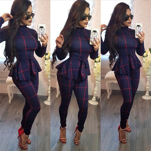 Plaid Print Turtle neck Long sleeve Romper - monach-butterfly