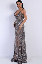 Load image into Gallery viewer, Silver Sequin Evening Gown - monach-butterfly
