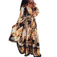 Load image into Gallery viewer, Women Floral Print Boho  Long Sleeve V Neck Long Dress - monach-butterfly