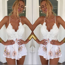 Load image into Gallery viewer, Patchwork Lace V Neck Print Playsuit / Romper - monach-butterfly