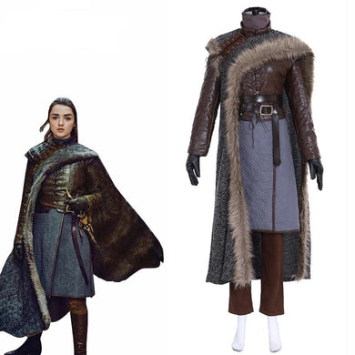 Game of Thrones Season 8 Cosplay Costume Arya Stark Full set Women Outfit suit Custom made Halloween costume - monach-butterfly