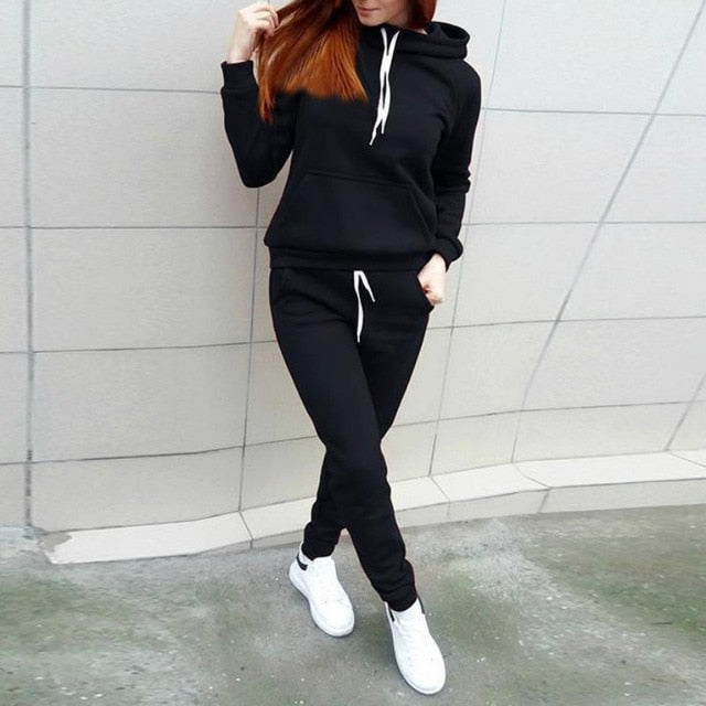 Women Hoodies Pant Clothing Set Casual 2 Piece Set Warm Clothes Solid Tracksuit Women Set Top Pants Ladies Suit - monach-butterfly