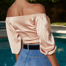 Load image into Gallery viewer, Women Bow Sashes  Half Sleeve Satin Slik Crop Top - monach-butterfly