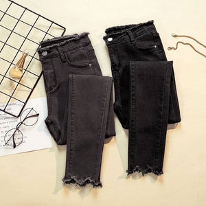 Female Denim Pants Black skinny Womens Jeans - monach-butterfly