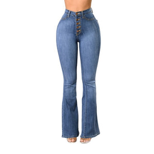 High Waist Stretchy bell foot Jeans - monach-butterfly
