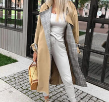 Load image into Gallery viewer, Vintage long turn down collar Trench Coat