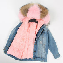 Load image into Gallery viewer, Women's Real Fur Coat Parka  striped bomber Denim jacket Coat