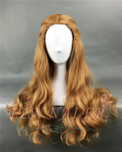 Game of Thrones Cersei Lannister Long Wavy Dark Gold Wig Queen Cersei Brown Wig costumes with Hairnet - monach-butterfly