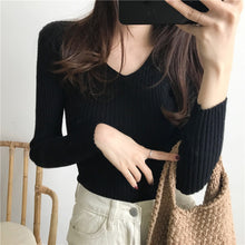 Load image into Gallery viewer, Women's  Knitted  slim long sleeve sweater - monach-butterfly