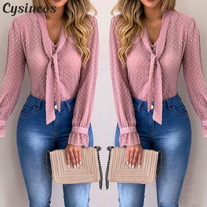 Women  Fashion Long Sleeve V-neck Pink Shirt Office Blouse - monach-butterfly