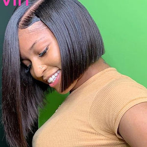 Brazilian Straight Natural short bob  Lace Frontal Wig Pre Plucked Baby Hair - monach-butterfly
