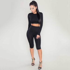 2 Piece Set Women Sexy Long Sleeve Top+Biker Shorts Track Suit - monach-butterfly