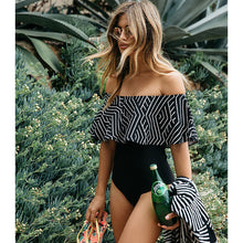Load image into Gallery viewer, Off The Shoulder Solid Swimwear Women One Piece Swimsuit Female Bathing Suit - monach-butterfly