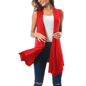 Sleeveless Draped Open Front Kimono Cardigan Women Clothes 2019 Ladies Cardigan - monach-butterfly