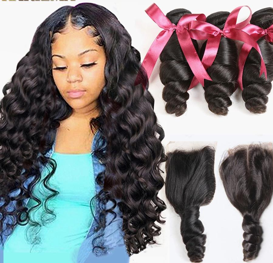 Brazilian Loose Wave 3 Bundles With Lace Closure - monach-butterfly