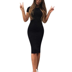 Women's Short Sleeve Slim Bodycon Pencil Dress - monach-butterfly