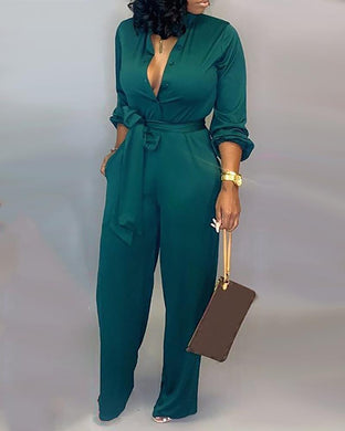 Loose Button Up Self Belted Pocket Jumpsuit/ Romper