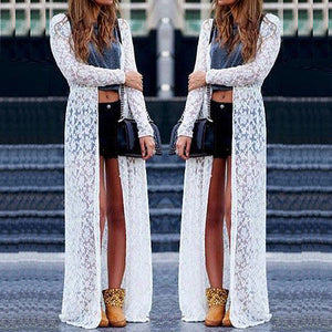 Women Ladies Summer Long Sleeve Beach Lace Cardigan Blouse Long Tops - monach-butterfly