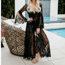 Load image into Gallery viewer, Black Sheer Lace Kimono  Beach cover-up - monach-butterfly