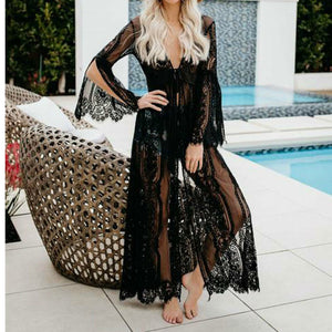 Black Sheer Lace Kimono  Beach cover-up - monach-butterfly