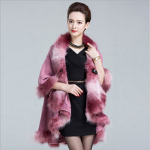 Load image into Gallery viewer, Faux Fox Fur Poncho Coat Autumn Winter Knitted Cardigan Wool Cashmere - monach-butterfly