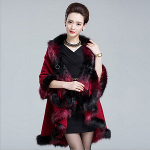 Faux Fox Fur Poncho Coat Autumn Winter Knitted Cardigan Wool Cashmere - monach-butterfly